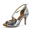 cheap Latin Shoes-Women's Latin Shoes / Ballroom Shoes Leatherette Sandal Buckle Stiletto Heel Customizable Dance Shoes Silver / Gold
