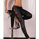 baratos Tatuagens para Unhas-Mulheres Pele Artificial Básico Legging - Retalhos Cintura Média