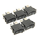 cheap Light Switches-Hongju Diy T85 2-Pin Rocker Boat Switch - Black Color (5 Pcs)