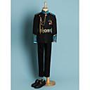 זול חליפות-שחור פוליאסטר חליפה לנושא הטבעת - 4 חלקים כולל ג'קט / אבנט למותניים / חולצה