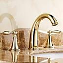 billige Vandhaner til badeværelset-Traditionel Udspredt Keramik Ventil Tre Huller To Håndtag tre huller for  Ti-PVD , Håndvasken vandhane