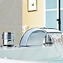 tanie Baterie łazienkowe-Bateria do umywalki łazienkowej - Wodospad Chrom Szeroko rozstawiona Trzy otwory / Dwa uchwyty Trzy otwory / Mosiądz