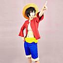 Χαμηλού Κόστους Κοστούμια Anime-Εμπνευσμένη από One Piece Monkey D. Luffy Anime Στολές Ηρώων Ιαπωνικά Κοστούμια Cosplay Patchwork Κορυφή / Ζώνη / Κοντά Παντελονάκια Για Ανδρικά / Γυναικεία