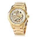 ieftine Ceasuri La Modă-WINNER Bărbați Ceas de Mână ceas mecanic Mecanism automat Gravură scobită Oțel inoxidabil Bandă Analog Lux Fluture Auriu - Alb Negru
