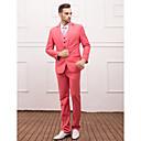 hesapli Takım Elbiseler-Pembe Solid Dar Kalıp Polyester Viskoz Takım elbise - Dar Çentik Tek Sıra Düğmeli Bir Düğme