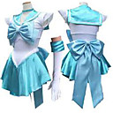halpa Anime-asut-Innoittamana Sailor Moon Sailor Mercury Anime Cosplay-asut Cosplay Puvut Hihaton Solmio / Leninki / Käsineet Käyttötarkoitus Naisten Halloween-asut / Satiini