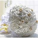 """baratos Strass & Decorações-Bouquets de Noiva Buquês Casamento Renda / Strass / Poliéster 11.8""""(Aprox.30cm)"""