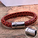 cheap Customized Apparel Accessories-Personalized Gift  Leather Rope Bracelet Stainless Steel Engraved Jewelry