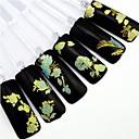 preiswerte Gastgeschenk Boxen & Verpackungen-24pcs mischen Goldblume blauem Hintergrund Sticker Nail Art Nageldekorationen