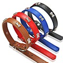cheap Dog Collars, Harnesses & Leashes-Dog Collar Adjustable / Retractable PU Leather Black Brown Red Blue