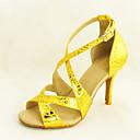 رخيصةأون ألعاب المغناطيس-للمرأة أحذية رقص / صالة الرقص جلد كعب مشبك كعب ستيلتو مخصص أحذية الرقص فضة / ذهبي