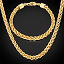 رخيصةأون المصابيح اليدوية وفوانيس الإضاءة للتخييم-u7®twisted حبل قلادة سلسلة سوار الذهب 18K مطلية بالذهب الحقيقي مكتنزة طويلة قلادة مجموعة مجوهرات للرجال