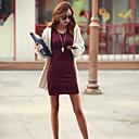 זול מגפי נשים-בגדי ריקוד נשים סגנון רחוב כותנה רזה מכנסיים - אחיד שחור / צווארון V