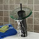 זול ברזים לחדר האמבטיה-חדר רחצה כיור ברז - מפל מים ברונזה ששופשפה בשמן כלי חור אחד / חור ידית אחת אחתBath Taps / Brass