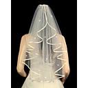 hesapli Parti Başlıkları-Tek kat Kurdele Kenar / Boncuklu Kenar Gelin Duvakları Dirsek Başlığı ile Dağınık Kristal Tarzı 31.5 inç (80cm) Tül