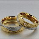 abordables Anillos-Mujer Alianzas / Anillo de declaración - Titanio Acero, Diamante Sintético Amor 5 / 6 / 7 Oro / Blanco Para Boda / Fiesta / Diario