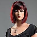 זול פיאות סינטטיות ללא כיסוי-פאות סינתטיות ישר סגנון פאה שחור מעורב באדום שיער סינטטי 10 אִינְטשׁ בגדי ריקוד נשים אדום פאה קצר
