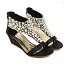 baratos Sandálias Femininas-Mulheres Sapatos Courino Verão Tira em T Plataforma / Salto Plataforma Pérolas Sintéticas Preto / Dourado