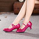 "cheap Latin Shoes-Women's Modern Paillette Leatherette Heel Buckle Cuban Heel Black Red Blue Fuchsia 2"" - 2 3/4"" Non Customizable"