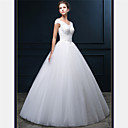 cheap Wedding Shoes-A-Line V Neck Floor Length Tulle Made-To-Measure Wedding Dresses with Beading / Pearl / Appliques by LAN TING Express / Sparkle & Shine