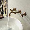 povoljno Slavine za umivaonik-Starinski Zidne slavine Keramičke ventila Dvije ručke tri rupe for  Antique Brass , Kupaonica Sudoper pipa
