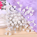 cheap Jewelry Sets-Pearl / Crystal / Fabric Tiaras / Headbands / Hair Combs with 1 Wedding / Special Occasion / Party / Evening Headpiece / Flowers / Hair Pin / Alloy