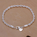 cheap Bracelets-Women's Twist Prince Of Wales Chain Bracelet - Sterling Silver Snake Basic, Fashion Bracelet Silver For Wedding / Party / Daily