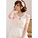 cheap Wedding Wraps-Short Sleeves Polyester Lace Wedding Party Evening Casual Wedding  Wraps With Embroidery Lace Shrugs