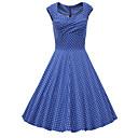 baratos Mocassins Femininos-Mulheres Para Noite Vintage Moda de Rua Algodão Evasê Vestido Poá Decote Princesa Altura dos Joelhos Azul