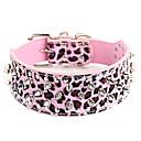 abordables Collares, Arneses y Correas para Perros-Perro Cuello Ajustable / Retractable Tachonado Piedra Cuero de PU Morado Rosa Leopardo