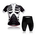 baratos Camisas & Shorts/Calças de Ciclismo-WOSAWE Manga Curta Camisa com Shorts para Ciclismo - Preto / Branco Moto Conjuntos de Roupas, Respirável, Secagem Rápida, Redutor de Suor Poliéster Esqueleto / Com Stretch / Avançado