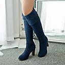 baratos Botas Femininas-Mulheres Sapatos Courino Outono / Inverno botas de desleixo Salto Robusto >50.8 cm / Botas Acima do Joelho Preto / Azul