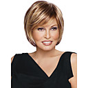 cheap Synthetic Capless Wigs-Synthetic Wig Straight Bob Haircut / With Bangs Synthetic Hair Highlighted / Balayage Hair / Side Part Brown Wig Women's Short Capless