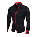 cheap Building Blocks-Men's Work Plus Size Cotton Slim Shirt - Solid Colored Black & Red, Basic Spread Collar / Long Sleeve