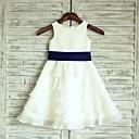 preiswerte Kleider für Mädchen-A-Linie Knie-Länge Blumenmädchenkleid - Chiffon / Satin Ärmellos U-Ausschnitt mit Schärpe / Band durch LAN TING Express