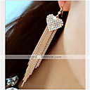 cheap Earrings-Women's Tassel / Chandelier / Long Drop Earrings - Rhinestone, Imitation Diamond Heart, Love Luxury, Classic, Tassel For Party / Daily