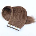 baratos Extensões de Cabelo com Adesivo-Com Adesivo Extensões de cabelo humano Liso Cabelo Humano Ruivo Escuro Loiro Cinzento