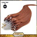 billige punktere verktøy-Febay Hairextension med mikroringer Hairextensions med menneskehår Rett Klassisk Remy-hår Ekte hår Mørk Kastanjebrun Bleik Blond Lyseblond