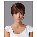 cheap Synthetic Wigs-Synthetic Wig Straight Asymmetrical Haircut Synthetic Hair Natural Hairline Dark Brown Wig Women's Short Capless
