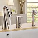 billige Vandhaner til badeværelset-Badekarshaner - Moderne Nikkel Børstet Badekar & Bruser Keramik Ventil / Enkelt håndtag tre huller