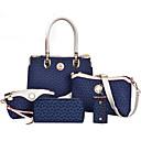 baratos Conjunto de Bolsas-Mulheres Bolsas PU Tote / Bolsa de Ombro / Conjuntos de saco 5 Pcs Purse Set Marron / Azul / Rosa claro