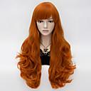 hesapli Anime Kostümleri-Sentetik Peruklar Kadın's Derin Dalga Kırmızı Bantlı Sentetik Saç Kırmızı Peruk Uzun Bonesiz Kahverengi