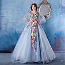 baratos Clutches & Bolsas de Noite-De Baile / Princesa Decote V Cauda Capela Cetim / Tule Evento Formal Vestido com Flor de LAN TING Express