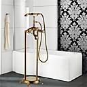 זול ברזים לאמבטיה-ברז לאמבטיה - ארט דקו / רטרו TI-PVD רכוב ריצפתי שסתום קרמי Bath Shower Mixer Taps / שלוש ידיות חור אחד