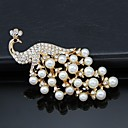 cheap Brooches-Women's Brooches - Pearl, Crystal, Cubic Zirconia Peacock Party, Work, Fashion Brooch Gold / White For Wedding / Party / Special Occasion