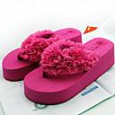 abordables Chanclas yPantuflas de Mujer-Mujer Zapatos PVC Verano Tacón Plano Flor Negro / Rojo