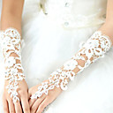 cheap Wedding Wraps-Lace / Cotton / Polyester Wrist Length / Elbow Length Glove Charm / Stylish / Bridal Gloves With Acrylic / Embroidery / Solid