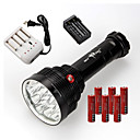 cheap Flashlights & Camping Lanterns-3 LED Flashlights / Torch LED 22000 lm 3 Mode Impact Resistant / Rechargeable / Waterproof Camping / Hiking / Caving / Everyday Use / Cycling / Bike Black