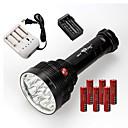 זול פנסים-3 פנס LED LED 22000 lm 3 מצב תאורה עמיד לחבטות / נטענת / עמיד במים מחנאות / צעידות / טיולי מערות / שימוש יומיומי / רכיבה על אופניים שחור