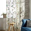 billige Gennemsigtige gardiner-Stanglomme Kousering Top Dobbelt Pliseret To paneler Vindue Behandling Moderne Land, Print Blad Soveværelse Poly / bomuldsblanding